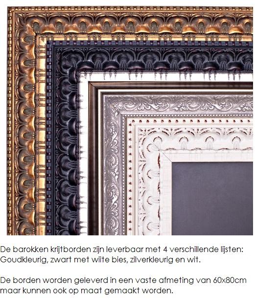 Barok Lijst Op Maat.Krijtbord Met Zilverkleurige Barokke Lijst Besteld U Hier Snel